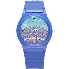 Blue Magical Landscape Round Plastic Sport Watch (s) by Valentinaart