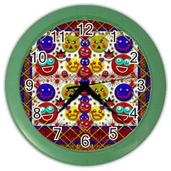 Smile And The Whole World Smiles  On Color Wall Clocks by pepitasart