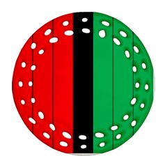 Kwanzaa Colors African American Red Black Green  Round Filigree Ornament (2side) by yoursparklingshop