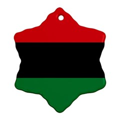 Pan African Unia Flag Colors Red Black Green Horizontal Stripes Ornament (snowflake)  by yoursparklingshop