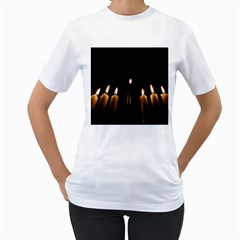 Hanukkah Chanukah Menorah Candles Candlelight Jewish Festival Of Lights Women s T Shirt (white) (two Sided) by yoursparklingshop