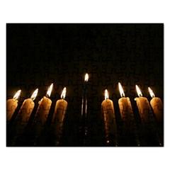 Hanukkah Chanukah Menorah Candles Candlelight Jewish Festival Of Lights Rectangular Jigsaw Puzzl by yoursparklingshop