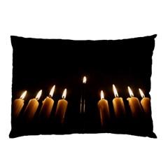Hanukkah Chanukah Menorah Candles Candlelight Jewish Festival Of Lights Pillow Case by yoursparklingshop