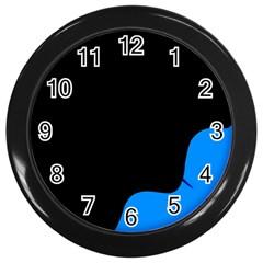 Blue And Black Wall Clocks (black) by Valentinaart
