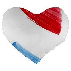 Tricolor Banner Flag, Red White Blue Large 19  Premium Flano Heart Shape Cushions by picsaspassion
