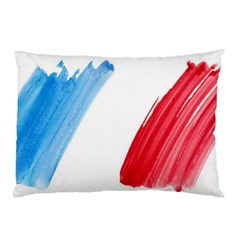 Tricolor Banner Flag France, Blue White Red Watercolor Pillow Case by picsaspassion