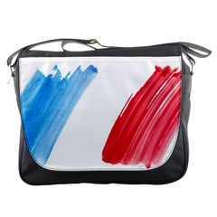 Tricolor Banner Flag France, Blue White Red Watercolor Messenger Bags by picsaspassion