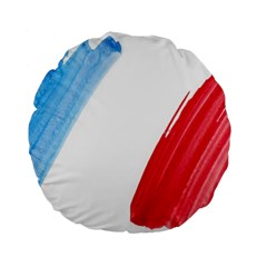 Tricolor Banner Flag France, Blue White Red Watercolor Standard 15  Premium Round Cushions by picsaspassion