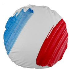 Tricolor Banner Flag France, Blue White Red Watercolor Large 18  Premium Round Cushions by picsaspassion