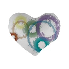 Rainbow Color Circles, Paintbrush Aquarel Standard 16  Premium Heart Shape Cushions by picsaspassion