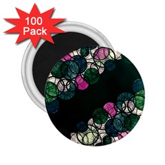 Green And Pink Bubbles 2 25  Magnets (100 Pack)  by Valentinaart