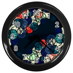 Orange And Blue Bubbles Wall Clocks (black) by Valentinaart