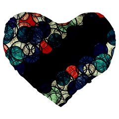 Orange And Blue Bubbles Large 19  Premium Flano Heart Shape Cushions by Valentinaart