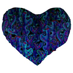 Blue Coral Large 19  Premium Heart Shape Cushions by Valentinaart