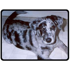 Blue Merle Puppy  Catahoula Double Sided Fleece Blanket (Large)  by TailWags