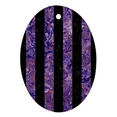Stripes1 Black Marble & Purple Marble Oval Ornament (two Sides)