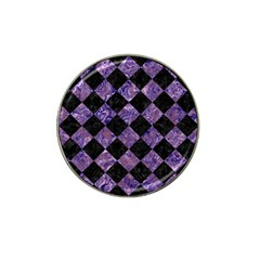 Square2 Black Marble & Purple Marble Hat Clip Ball Marker by trendistuff