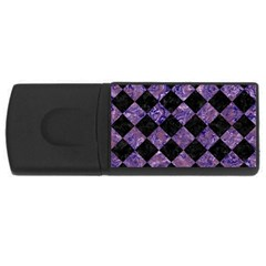 Square2 Black Marble & Purple Marble Usb Flash Drive Rectangular (4 Gb) by trendistuff