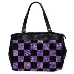 Square1 Black Marble & Purple Marble Oversize Office Handbag (2 Sides) by trendistuff
