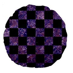 Square1 Black Marble & Purple Marble Large 18  Premium Round Cushion  by trendistuff
