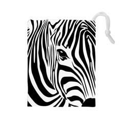 Animal Cute Pattern Art Zebra Drawstring Pouches (large)  by Amaryn4rt