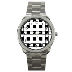 Black And White Pattern Sport Metal Watch by Amaryn4rt