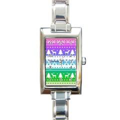Cute Rainbow Bohemian Rectangle Italian Charm Watch by Brittlevirginclothing