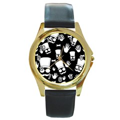 Gentleman   Black And White Pattern Round Gold Metal Watch by Valentinaart