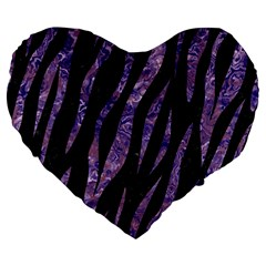 Skin3 Black Marble & Purple Marble Large 19  Premium Flano Heart Shape Cushion by trendistuff
