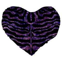Skin2 Black Marble & Purple Marble Large 19  Premium Flano Heart Shape Cushion by trendistuff