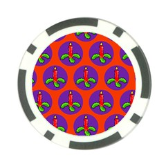 Christmas Candles Seamless Pattern Poker Chip Card Guards