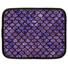 Scales1 Black Marble & Purple Marble (r) Netbook Case (large) by trendistuff