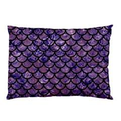Scales1 Black Marble & Purple Marble (r) Pillow Case by trendistuff