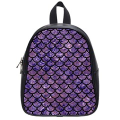Scales1 Black Marble & Purple Marble (r) School Bag (small) by trendistuff