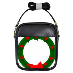 Holiday Wreath Girls Sling Bags by Amaryn4rt