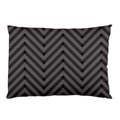 Background Gray Zig Zag Chevron Pillow Case (two Sides) by AnjaniArt