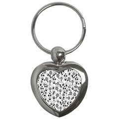 Black White Floral Key Chains (heart)  by AnjaniArt