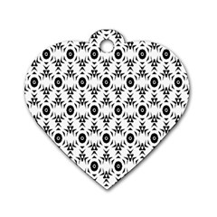 Black White Flower Dog Tag Heart (two Sides) by AnjaniArt