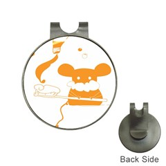 Brushing Teeth Mouse Orange Hat Clips With Golf Markers by AnjaniArt