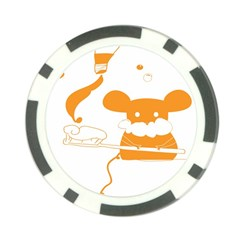 Brushing Teeth Mouse Orange Poker Chip Card Guards (10 Pack)  by AnjaniArt
