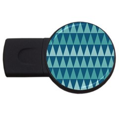 Blues Long Triangle Geometric Tribal Background Usb Flash Drive Round (2 Gb)  by AnjaniArt