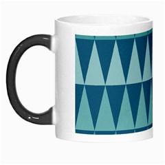 Blues Long Triangle Geometric Tribal Background Morph Mugs by AnjaniArt