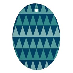Blues Long Triangle Geometric Tribal Background Oval Ornament (two Sides) by AnjaniArt