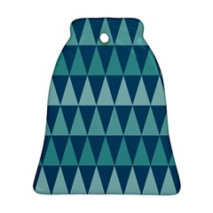 Blues Long Triangle Geometric Tribal Background Bell Ornament (2 Sides) by AnjaniArt
