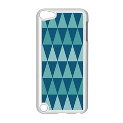 Blues Long Triangle Geometric Tribal Background Apple Ipod Touch 5 Case (white) by AnjaniArt