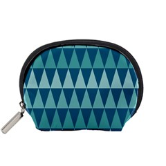 Blues Long Triangle Geometric Tribal Background Accessory Pouches (small)  by AnjaniArt