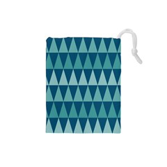Blues Long Triangle Geometric Tribal Background Drawstring Pouches (small)  by AnjaniArt