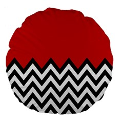 Chevron Red Large 18  Premium Flano Round Cushions by AnjaniArt