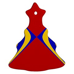 Concentric Hyperbolic Red Yellow Blue Christmas Tree Ornament (2 Sides) by AnjaniArt