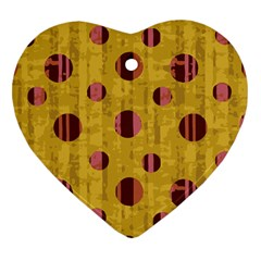 Dot Mustard Heart Ornament (2 Sides) by AnjaniArt